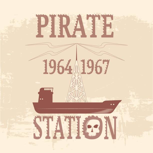 """ilustrações, clipart, desenhos animados e ícones de """"pirata estação 1964-1967"""" o navio com antena imponente. fecho de correr divergente. fundo do grunge. vector - ícones de festas e estações"""