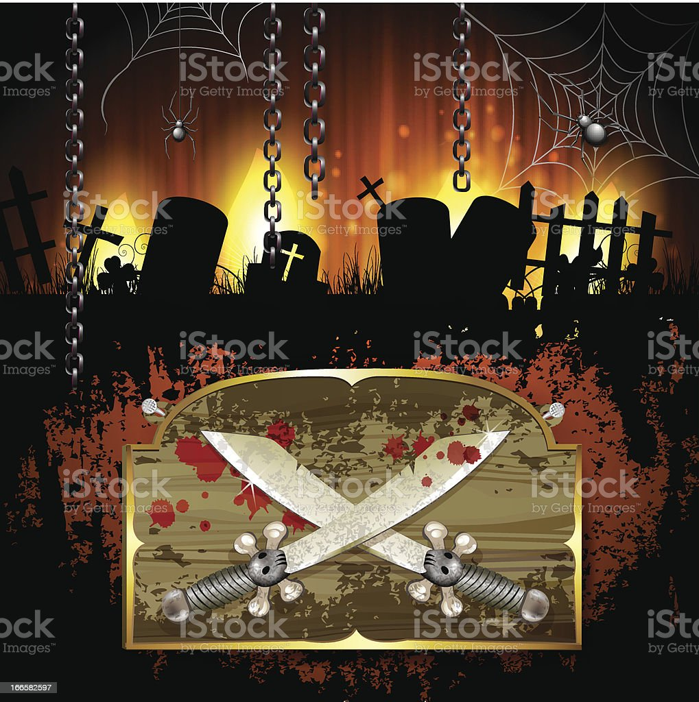 Pirate sword over wood banner royalty-free stock vector art