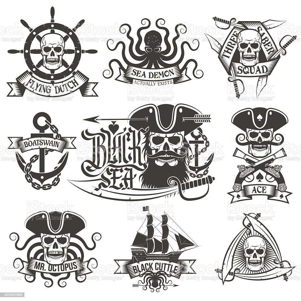 Pirate tattoo set vector art illustration