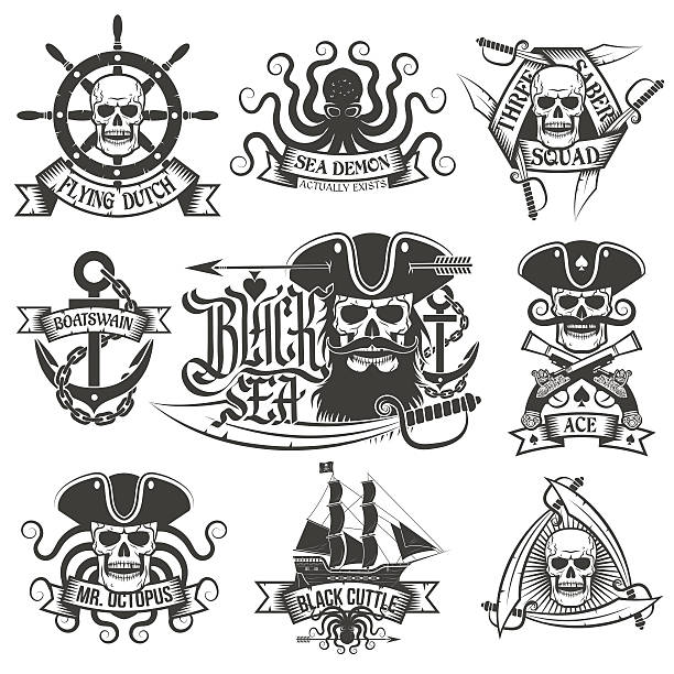 Pirate tattoo-set – Vektorgrafik