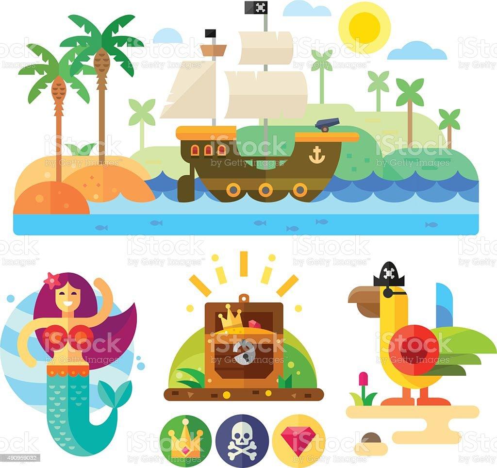 Pirate theme vector illustration set. vector art illustration