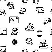 Pirate Things Vector Seamless Pattern