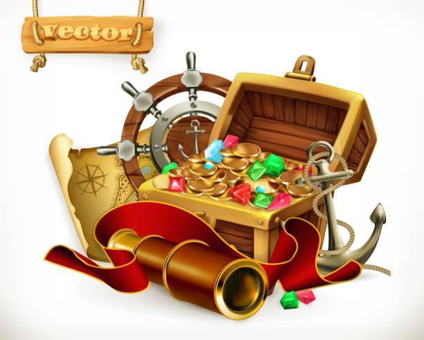 ilustrações, clipart, desenhos animados e ícones de tesouro de pirata. aventura 3d ilustração vetorial - mapas de tesouro