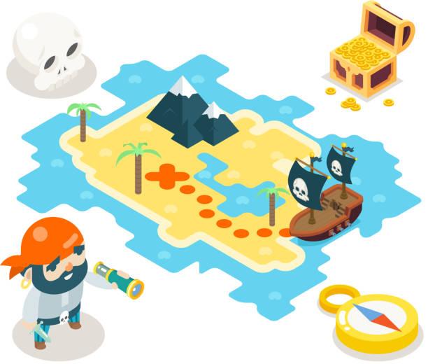 ilustrações de stock, clip art, desenhos animados e ícones de pirate treasure adventure game rpg map icon isometric symbol isolated - enjoying wealthy life