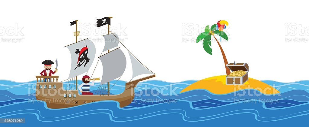 Pirate ship sailing to an island with treasure chest flat vector...