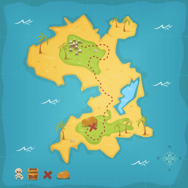 ilustrações, clipart, desenhos animados e ícones de ilha do tesouro de piratas e mapa - mapas de tesouro