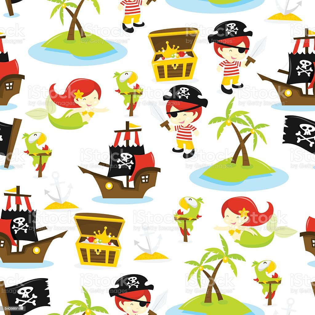 Ilha do tesouro de piratas fundo padrão sem emendas - ilustração de arte em vetor