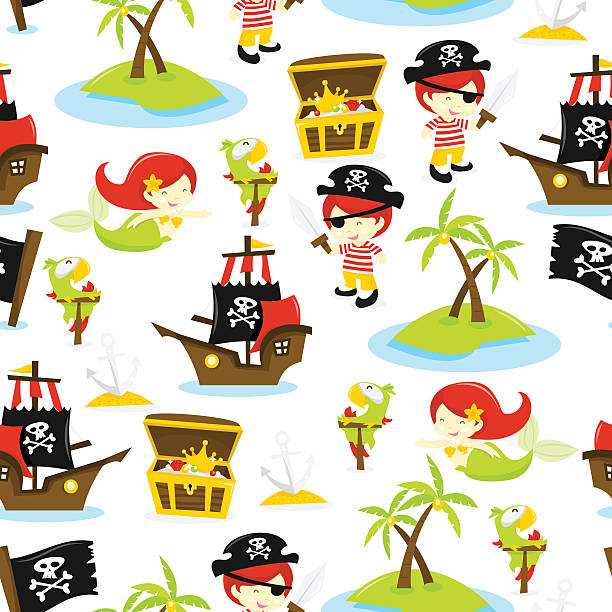 pirate treasure island seamless pattern background - treasure map backgrounds stock illustrations