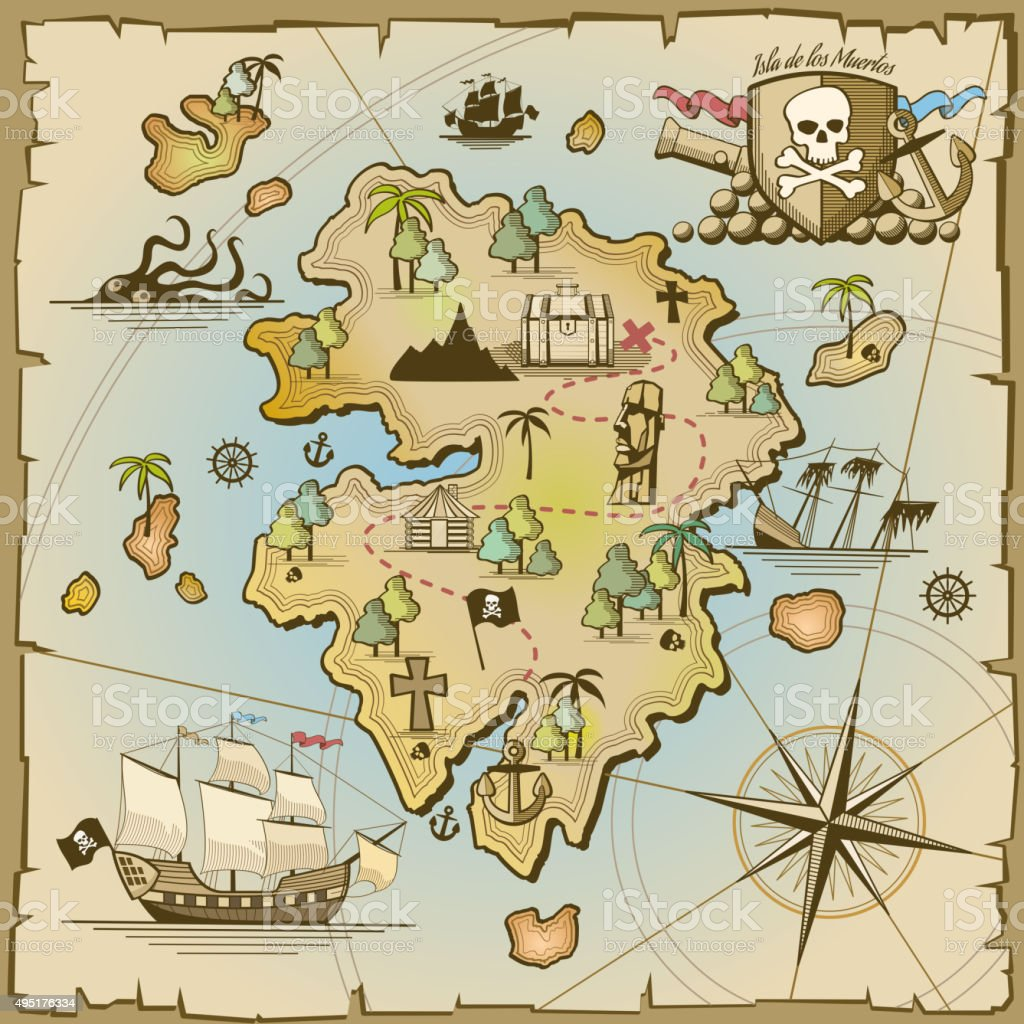 Mapa Isla Del Tesoro.Ilustracion De Pirata La Isla Del Tesoro Vector De Mapa Y