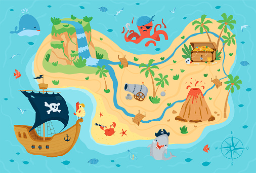 Pirate treasure map for children in cartoon style. Cute concept for kids room design, Wallpaper, textiles, play, apparel. Vector illustration