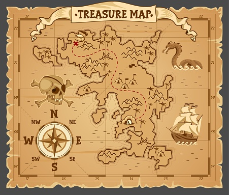 Pirate treasure map on ruined old parchment