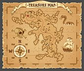 istock Pirate treasure map on ruined old parchment 1237808740