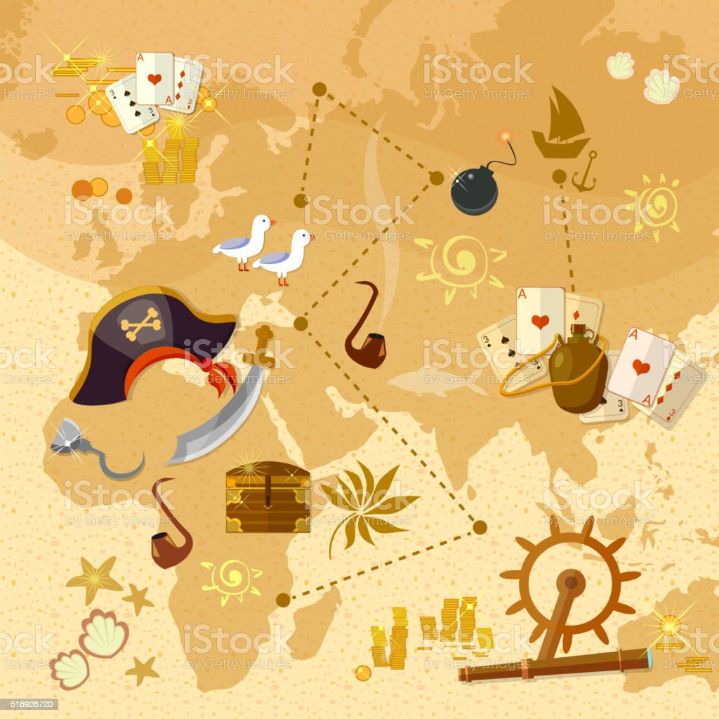 Pirate treasure map sea adventures vector art illustration