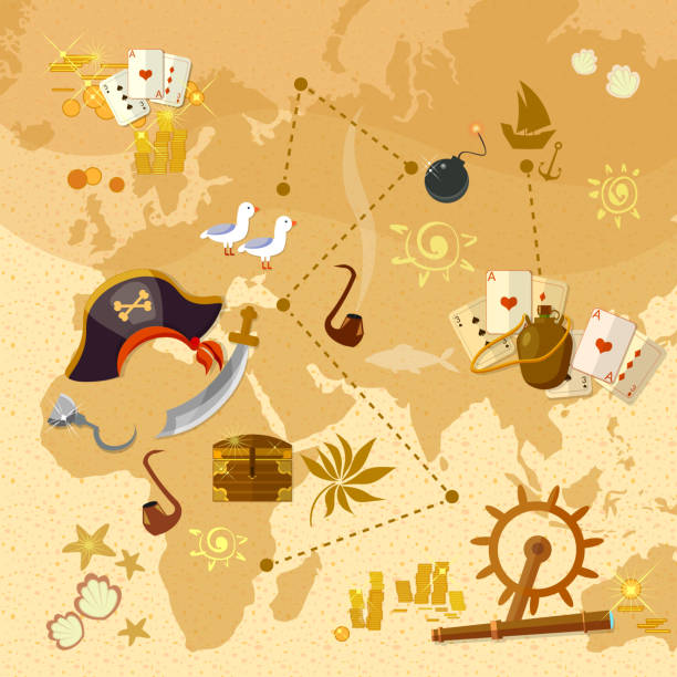 pirate treasure map sea adventures - treasure map backgrounds stock illustrations