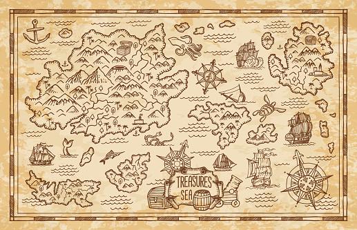 Pirate treasure map sketch with sea, islands, ship