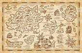 istock Pirate treasure map sketch with sea, islands, ship 1304648704