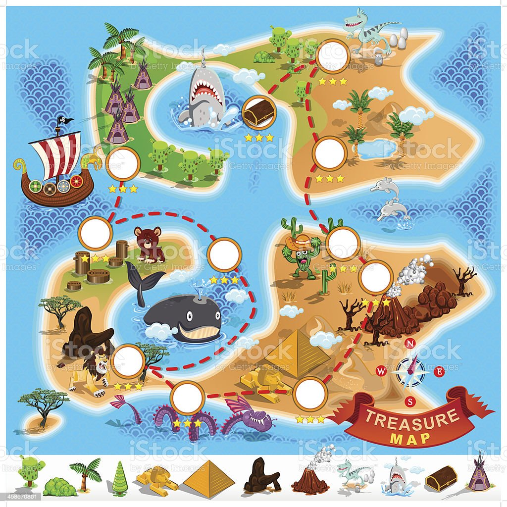 Mapa do tesouro dos piratas - ilustração de arte em vetor