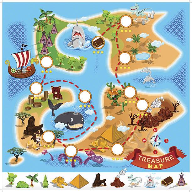 illustrations, cliparts, dessins animés et icônes de carte au trésor de pirate - cartes au trésor