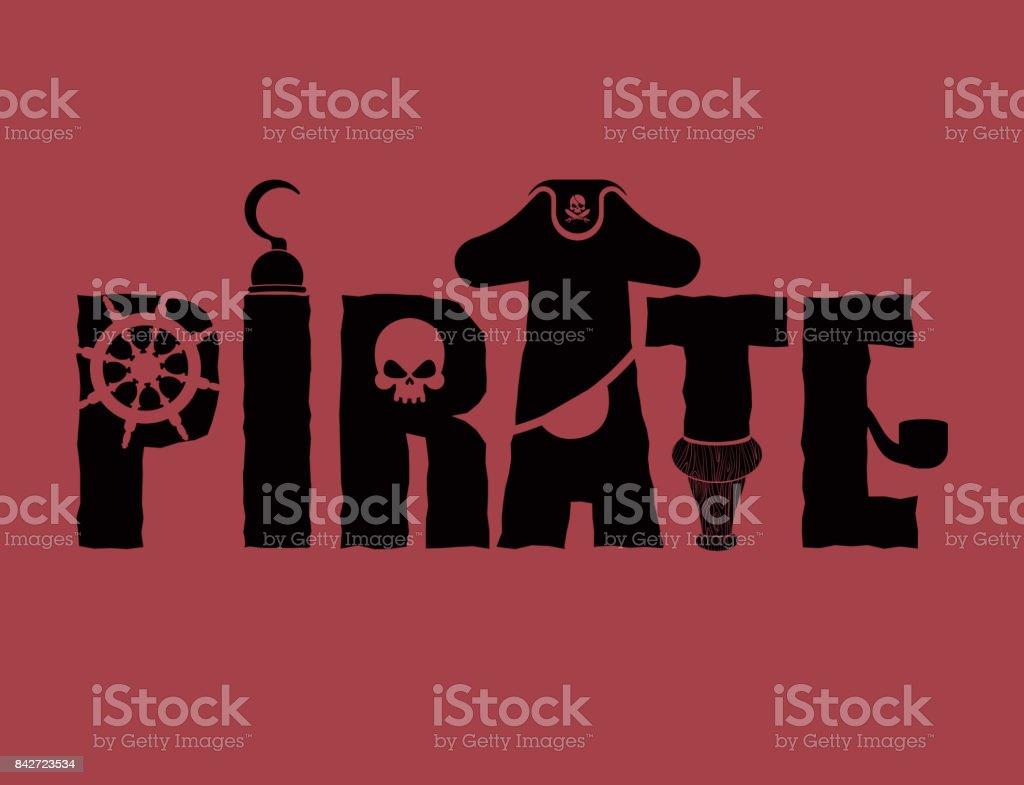 Ilustración De Muestra De Tipografía De Pirata Parche De Letras Y