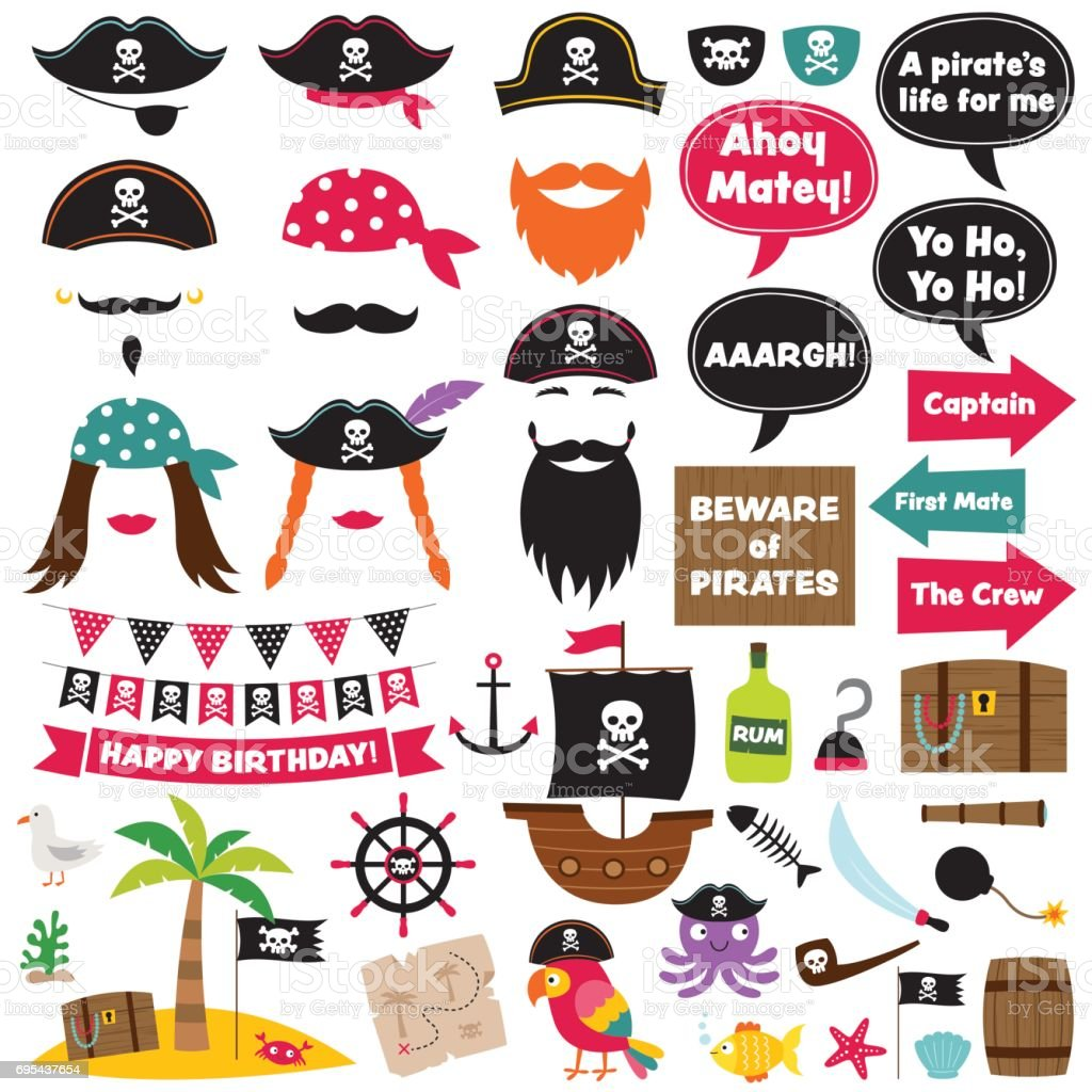 Pirate vector decoration and photo booth props vector art illustration