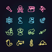 The vector files of pirate icon set.
