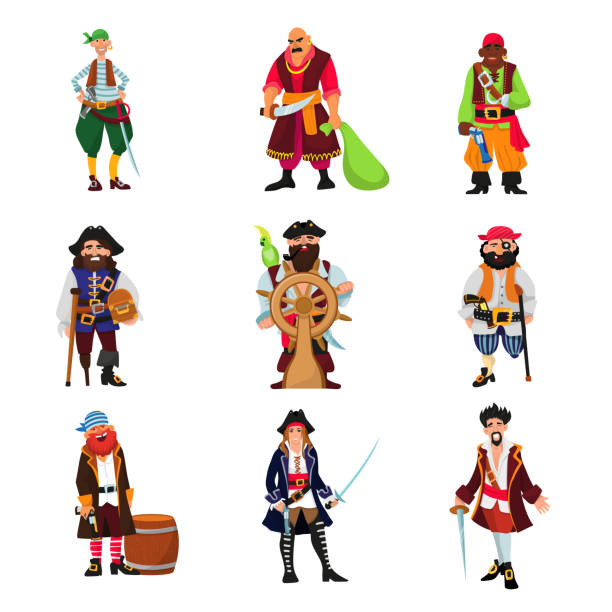 pirate vector piratic character buccaneer man in pirating costume in hat with sword illustration set of piracy sailor person isolated on white background - pirates stock illustrations, clip art, cartoons, & icons