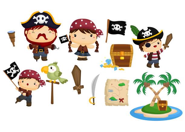 pirate vector set - pirates stock illustrations, clip art, cartoons, & icons