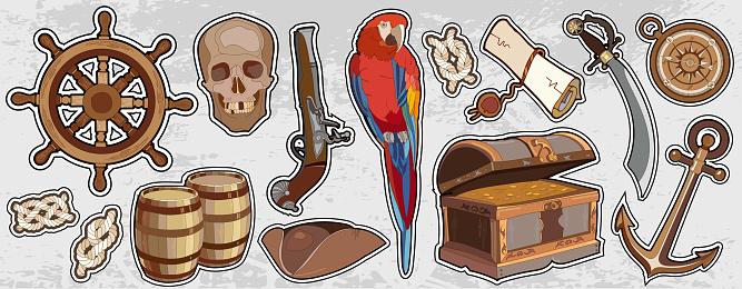 Pirate vintage elemets. Adventure stories background. Treasure chest parrot steering wheel skull rum saber pirate hat, pirate stickers