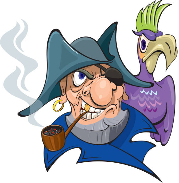 pirate with a parrot - old man smoking pipe cartoons stock illustrations, clip art, cartoons, & icons
