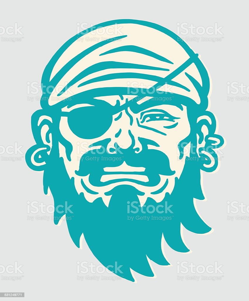 Pirate With Eyepatch vector art illustration
