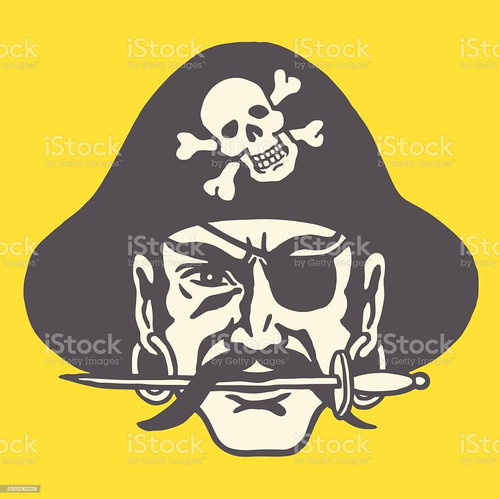 Pirate With Knife in His Teeth vector art illustration