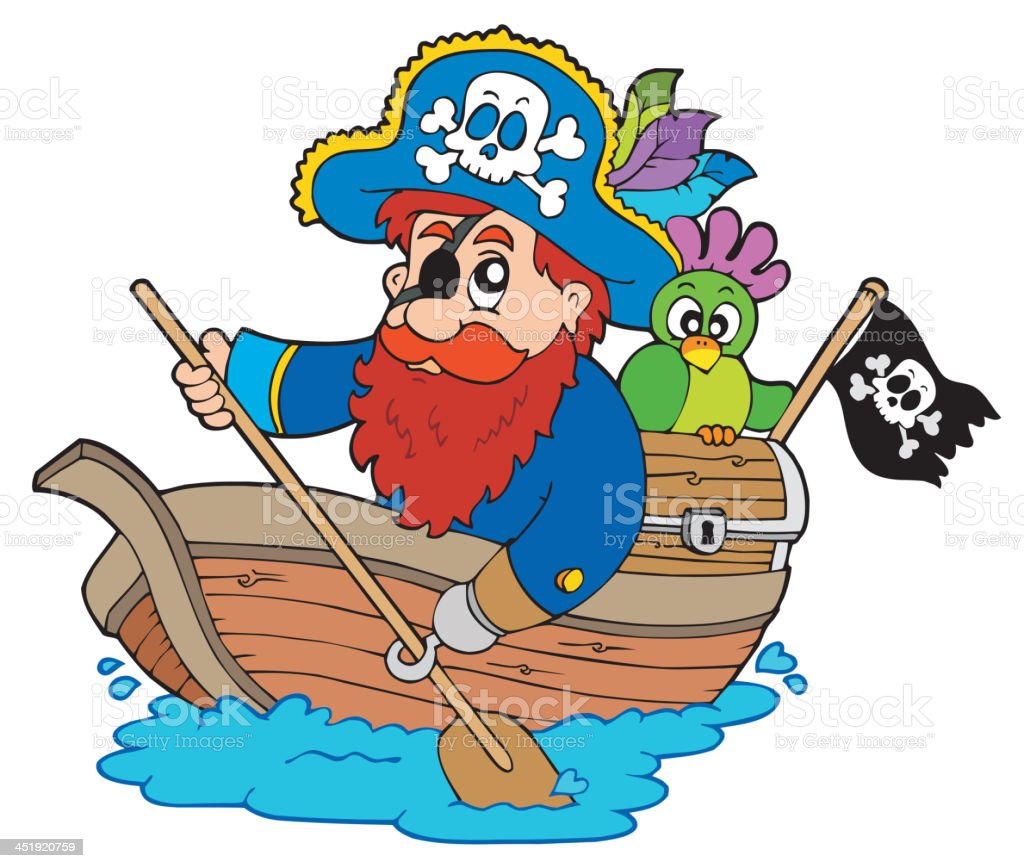 Pirate with parrot paddling in boat royalty-free stock vector art