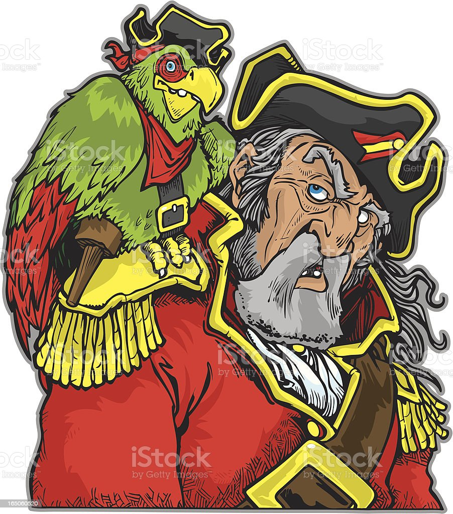 Pirate with parrot. vector art illustration