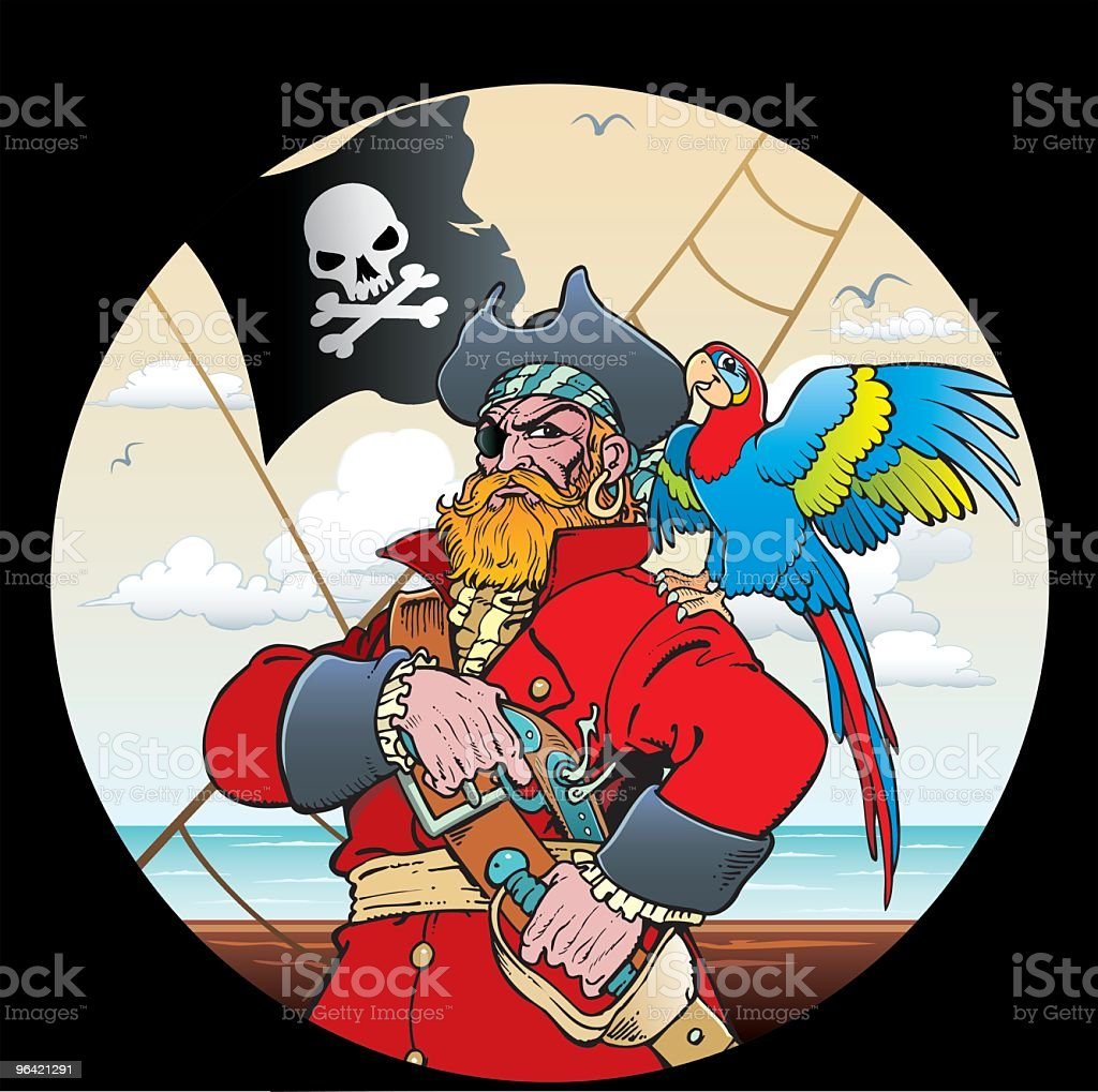 Pirate with parrot vector art illustration
