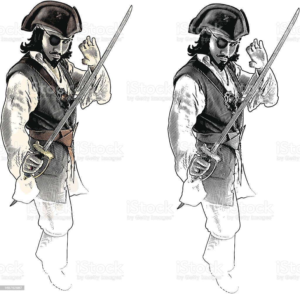 Pirate With Sword In Fighting Stance royalty-free stock vector art
