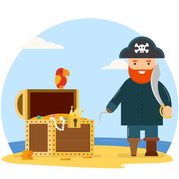 Pirate with treasure chest Pirate with treasure chest antiquities stock illustrations