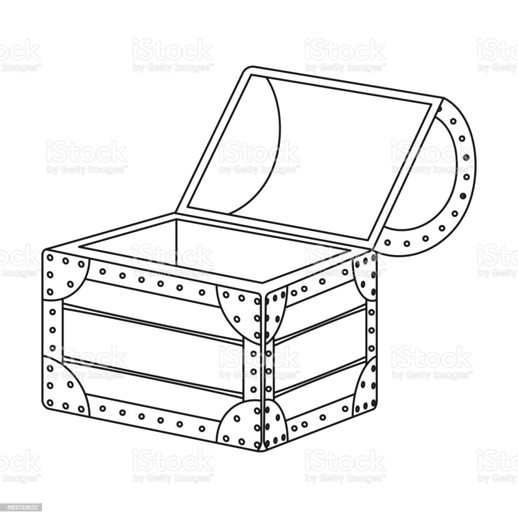 Pirate wooden chest icon in outline style isolated on white background. Pirates symbol stock vector illustration. royalty-free pirate wooden chest icon in outline style isolated on white background pirates symbol stock vector illustration 가구에 대한 스톡 벡터 아트 및 기타 이미지