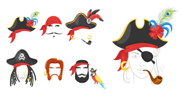 pirate_game_designs_posters - pirates stock illustrations, clip art, cartoons, & icons
