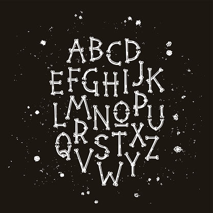 Pirated letters. Font from bones