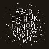 Vector font from bones. Elements for design for Halloween and Dia de los Muertos, the Mexican day of death. The concept of pirated letters.