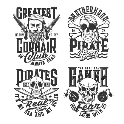 Pirates and corsairs gangs t-shirt grunge prints