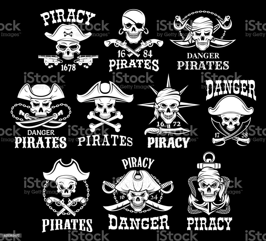Pirates black icons for vector piracy flags vector art illustration