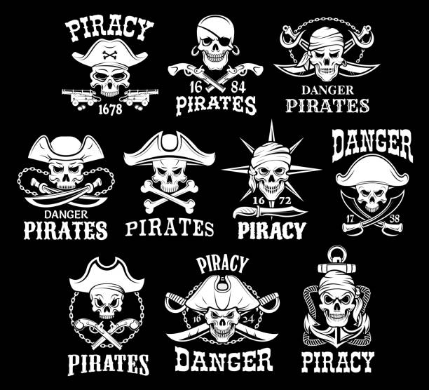 pirates black icons for vector piracy flags - pirates stock illustrations, clip art, cartoons, & icons