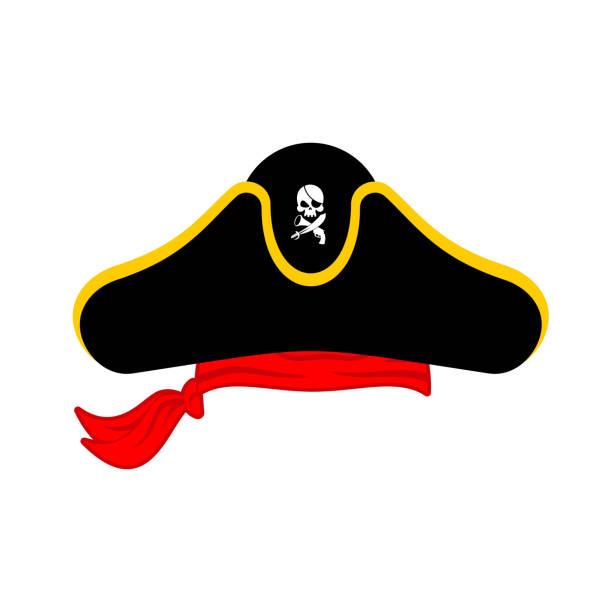 pirates cap isolated. hat buccaneer. bones and skull. corsair accessory - pirates stock illustrations, clip art, cartoons, & icons