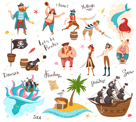 Pirates cartoon characters, set of funny isolated people and icons, vector illustration
