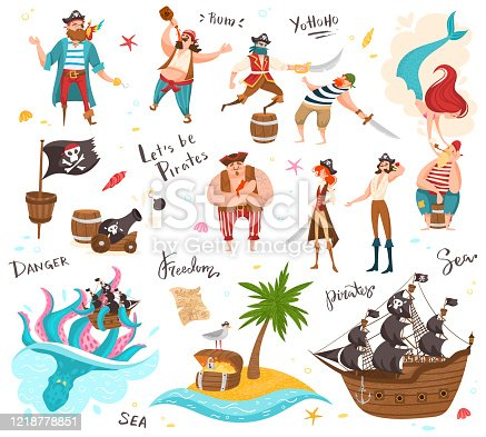Pirates cartoon characters, set of funny isolated people and icons, vector illustration. Sea ocean piracy, sailing ship and treasure chest. Men and women in pirate costumes, sea adventures collection