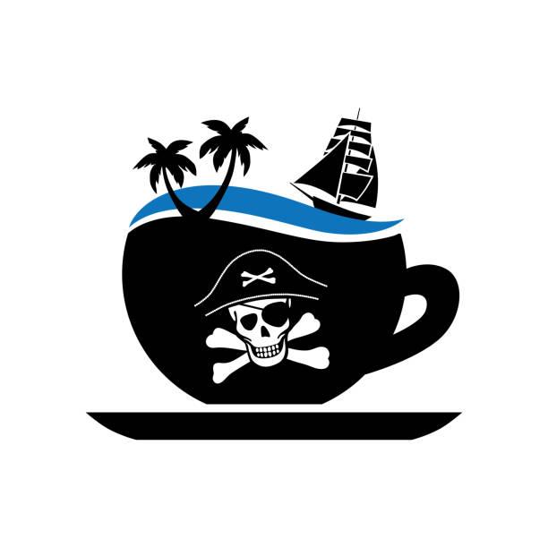 bildbanksillustrationer, clip art samt tecknat material och ikoner med pirater kaffe - coffe with death