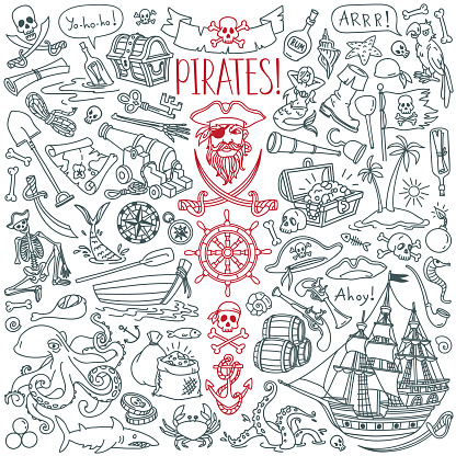 Pirates doodle set. Symbols of piracy - hat, swords, guns, treasure chest, ship, black flag, jolly roger emblem, skull and crossbones, compass.