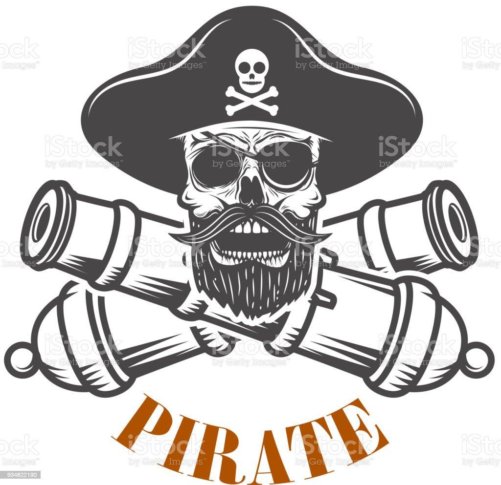 Ilustración de Piratas Plantilla De Emblema Con Cañones Y Calavera ...