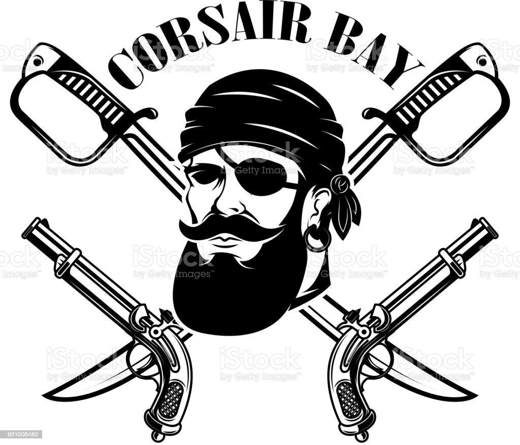 Piratas Plantilla De Emblema Con Espadas Y Cabeza De Pirata Elemento ...